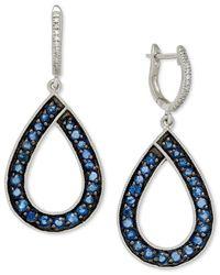 Macy's - Blue Sapphire (1-9/10 Ct. T.w.) And Diamond (1/10 Ct. T.w.) Teardrop Earrings In 14k White Gold - Lyst