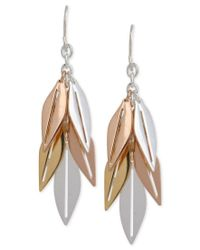 Hint Of Gold | Metallic Tri-tone Leaf Drop Earrings In 14k Gold And Silver-plated Metal | Lyst