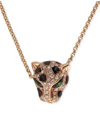 Effy Collection | Multicolor Diamond (1/5 Ct. T.w.) And Emerald Accent Panther Pendant Necklace In 14k Rose Gold | Lyst