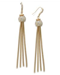 INC International Concepts | Metallic Gold-tone Pave Snake Chain Linear Drop Earrings | Lyst