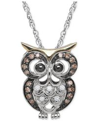 Macy's | Multicolor White And Brown Diamond Owl Pendant Necklace (1/10 Ct. T.w.) In Sterling Silver And 14k Gold | Lyst
