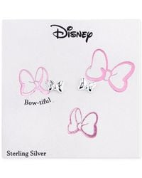 Disney   Gray Minnie Mouse Bow Stud Earrings In Sterling Silver   Lyst