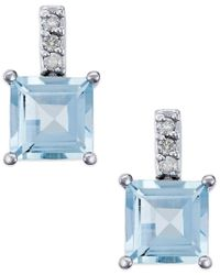 Macy's | Metallic Aquamarine (2 Ct. T.w.) And Diamond Accent Drop Earrings In 14k White Gold | Lyst