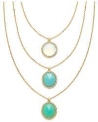 ABS By Allen Schwartz - Blue Gold-tone Round Stone Three Row Necklace - Lyst
