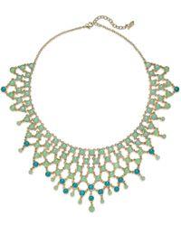 ABS By Allen Schwartz | Gold-tone Round Blue & Aqua Stone Drama Collar Necklace | Lyst