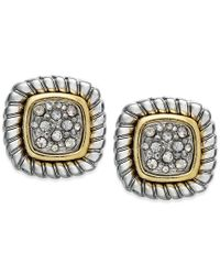 Charter Club | Metallic Two-tone Crystal Pave Textured Stud Earrings | Lyst
