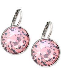 Swarovski | Silver-tone Pink Crystal Drop Earrings | Lyst