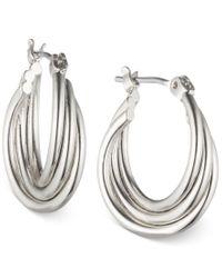 Nine West | Metallic Rose Gold-tone Twisted Hoop Earrings | Lyst