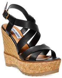 Steve Madden | Black Ellaa Cork Platform Wedge Sandals | Lyst