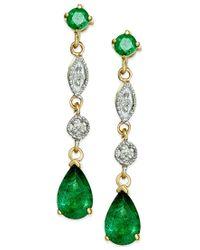 Macy's - Metallic Emerald (1 Ct. T.w.) Dangle Drop Earrings In 14k Gold - Lyst