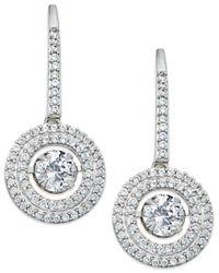 Macy's - Metallic White Sapphire Drop Earrings In 14k White Gold (1-1/2 Ct. T.w.) - Lyst