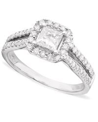 Macy's | Multicolor Princess-cut Diamond (1-1/3 Ct. T.w.) And 14k White Gold Engagement Ring | Lyst