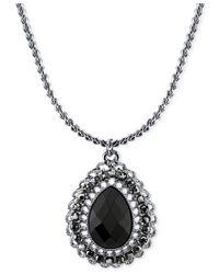 2028   Metallic Silver-tone Black Stone Teardrop Pendant Necklace   Lyst