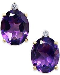Macy's | Purple Amethyst (4-1/2 Ct. T.w.) And Diamond Accent Stud Earrings In 14k Gold | Lyst