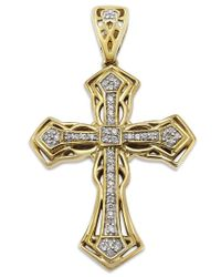Macy's | Metallic Men's Diamond Cross Pendant In 10k Gold (1/6 Ct. T.w.) | Lyst