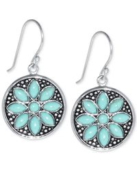Macy's - Metallic Manufactured Turquoise Flower Earrings (5 X 2-1/2mm) In Sterling Silver - Lyst