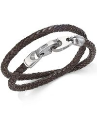 Macy's | Metallic Men's Brown Woven Leather Wrap Bracelet With Diamond Accent In Stainless Steel for Men | Lyst