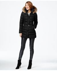 INC International Concepts - Black Faux-fur-trim Quilted Puffer Coat - Lyst