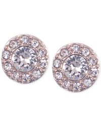 Givenchy | Pink Rose Gold-tone Small Pavé Stud Earrings | Lyst