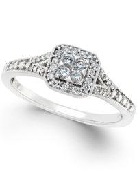 Macy's   Metallic Diamond Cushion-cut Halo Promise Ring (1/4 Ct. T.w.) In 10k White Gold   Lyst