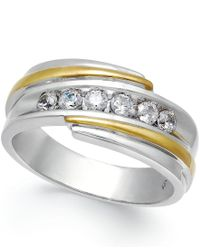 Macy's | Men's Diamond Ring (1/2 Ct. T.w.) In 10k White And Yellow Gold for Men | Lyst