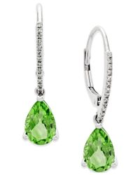 Macy's | Green Peridot (2-1/2 Ct. T.w.) And Diamond Accent Drop Earrings In 14k White Gold | Lyst