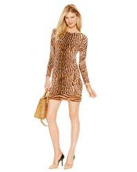 Michael Kors - Brown Michael Long-sleeve Animal-print Sheath Dress - Lyst