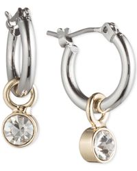 Lonna & Lilly - Multicolor Ionna & Lilly Silver- & Gold-tone Hoop Earrings With Stone Drop - Lyst