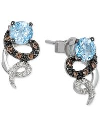 Le Vian | Blue Topaz (7/8 Ct. T.w.) And Diamond Accent Earrings In 14k White Gold | Lyst