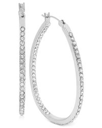 Touch Of Silver | Metallic Medium Oval Crystal Hoop Earrings In Silver-plated Brass | Lyst