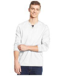 Alfani | White Big And Tall Long-sleeve Split Crewneck T-shirt for Men | Lyst