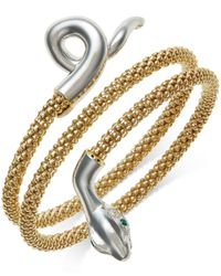 Macy's | Metallic Emerald-accent Snake Wrap Bracelet In 14k Gold Vermeil And Sterling Silver | Lyst