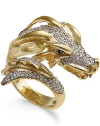 Macy's | Metallic Diamond Dragon Bypass Ring (1 Ct. T.w.) In 14k Gold-plated Sterling Silver | Lyst