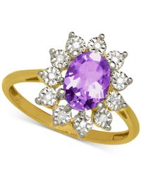 Macy's | Purple Amethyst (1-1/10 Ct. T.w.) And Diamond Accent Ring In 14k Gold | Lyst
