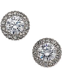 Danori | Metallic Silver-tone Framed Crystal Stud Earrings, Only At Macy's | Lyst