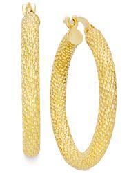 Macy's | Metallic Textured Hoop Earrings In 10k Gold | Lyst