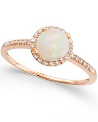 Macy's | Metallic Opal (3/4 Ct. T.w.) And Diamond (1/8 Ct. T.w.) Ring In 14k Rose Gold | Lyst
