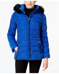 Calvin Klein | Blue Water-resistant Hooded Faux-fur-trim Puffer Coat | Lyst