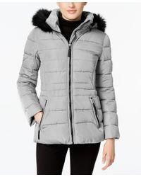 Calvin Klein | Gray Water-resistant Hooded Faux-fur-trim Puffer Coat | Lyst