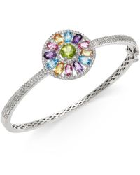 Macy's - Metallic Multi-stone (4 5/8 Ct.t.w.) Circle Bangle Bracelet In Sterling Silver - Lyst