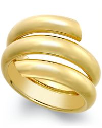 Macy's | Yellow Three Row Coil Bypass Ring In 14k Gold, Made In Italy | Lyst