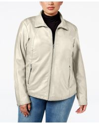 Kenneth Cole | Natural Plus Size Faux-leather Bomber Jacket | Lyst