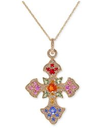 Effy Collection | Multicolor Sapphire (3 Ct. T.w.) And Diamond (2/3 Ct. T.w.) Celtic Cross Necklace In 14k Gold | Lyst