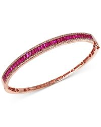 Effy Collection   Pink Effy Ruby (3-1/2 Ct. T.w.) And Diamond (1/2 Ct. T.w.) Bangle Bracelet In 14k Rose Gold   Lyst