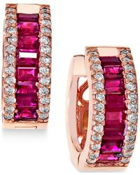 Effy Collection | Red Ruby (1-1/2 Ct. T.w.) And Diamond (3/8 Ct. T.w.) Earrings In 14k Rose Gold | Lyst