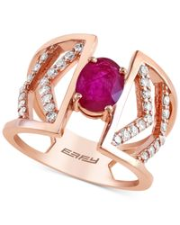 Effy Collection | Metallic Effy Ruby (7/8 Ct. T.w.) And Diamond (2/5 Ct. T.w.) Ring In 14k Rose Gold | Lyst