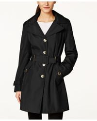 Calvin Klein | Black Petite Hooded Single-breasted Trench Coat, Only At Macy's | Lyst