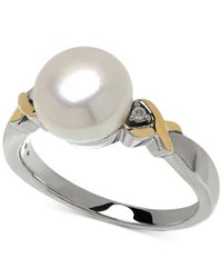 Macy's | Metallic Cultured Freshwater Pearl (9mm) And Diamond Accent Ring In 14k Gold And Sterling Silver | Lyst