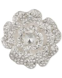 Anne Klein | Metallic Silver-tone Crystal Rose Pin, A Macy's Exclusive Style | Lyst