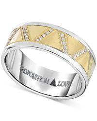 Proposition Love - Metallic Men's Diamond Wedding Band (1-1/10 Ct. T.w.) In 14k Yellow Gold & Cobalt for Men - Lyst